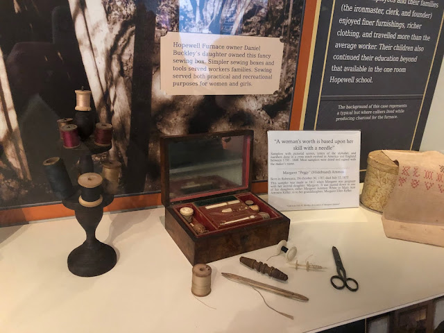 Antique sewing kit used by the furnace owner's daughter one of many fascinating artifacts at Hopewell Furnace.