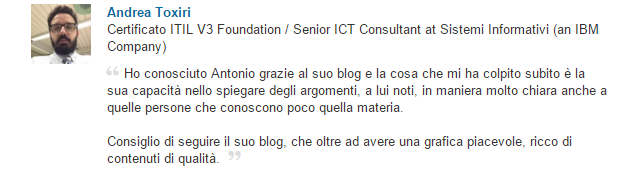 Referenza lavoro professionale LinkedIn feedback Andrea Toxiri