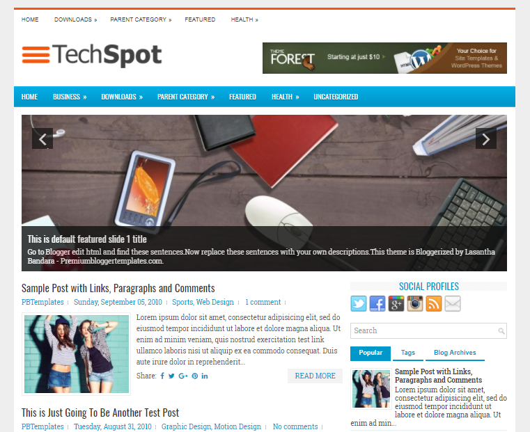 Columns Blogger Template for Tech Blogs Free Download TechSpot Blogger Template