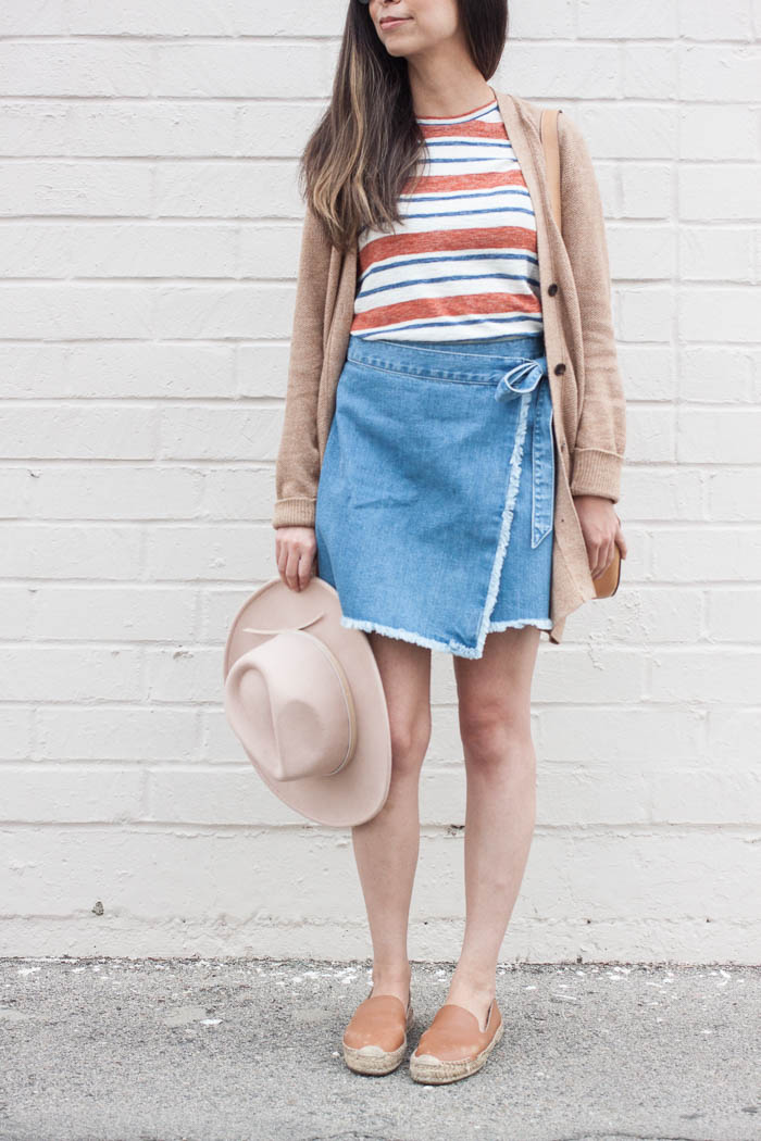 tan cardigan, stripe tee, blue denim skirt, tan felt hat