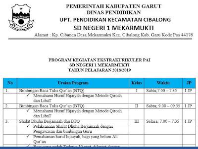 Contoh Program Ekstrakurikuler Keagamaan PAI di SD, https://gurujumi.blogspot.com/