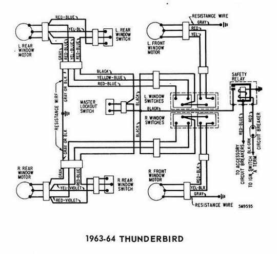 Ford Thunderbird 1963-1964 Windows Control Wiring Diagram ...