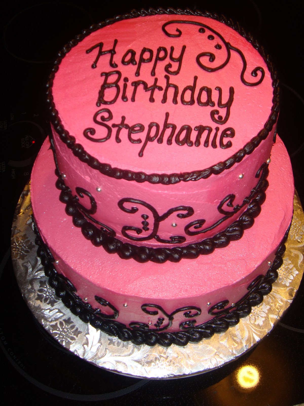 Stephanie S Pink Black Birthday Cake