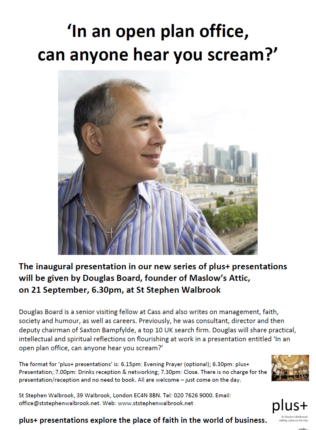 as part of further developing the st stephen walbrook has with the business community in the city of london we plan to begin a new series of