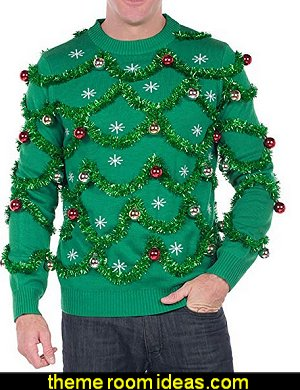 Gaudy Garland Sweater - Tacky Christmas Sweater w/Ornaments   Fashion style clothing - cute designs - modern woman dress style - pretty fashion vintage style - ugly sweaters - Christmas ugly sweaters  - decorate yourself - womens ugly sweaters - ugly mens sweaters - embellished ugly sweaters - fun sweaters - novelty sweaters - Christmas party sweaters - quirky party sweaters -