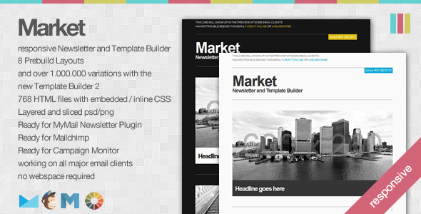 Market apple mail template Responsive Newsletter with Template Builder