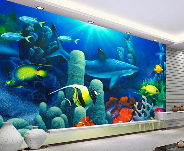 akvaario tapetti haita vedenalainen kala akvaario tapetti valokuva veistos Valokuvatapetti