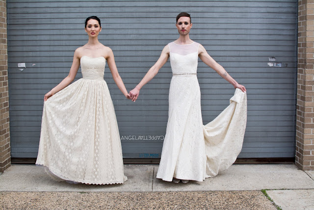 Runaway Brides with Genderfluid Celeb Jeffrey Marsh and Aine Rose Campbell for The Cotton Bride look book shot on location in Long island City.