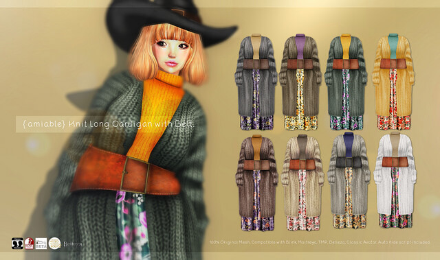 {amiable}Knit Long Cardigan with Belt@Collabor88 December.