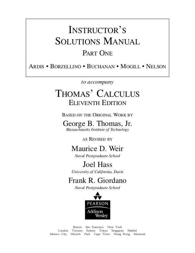 Thomas ,Calculus, 11th, Edition  ,with, manual ,solution