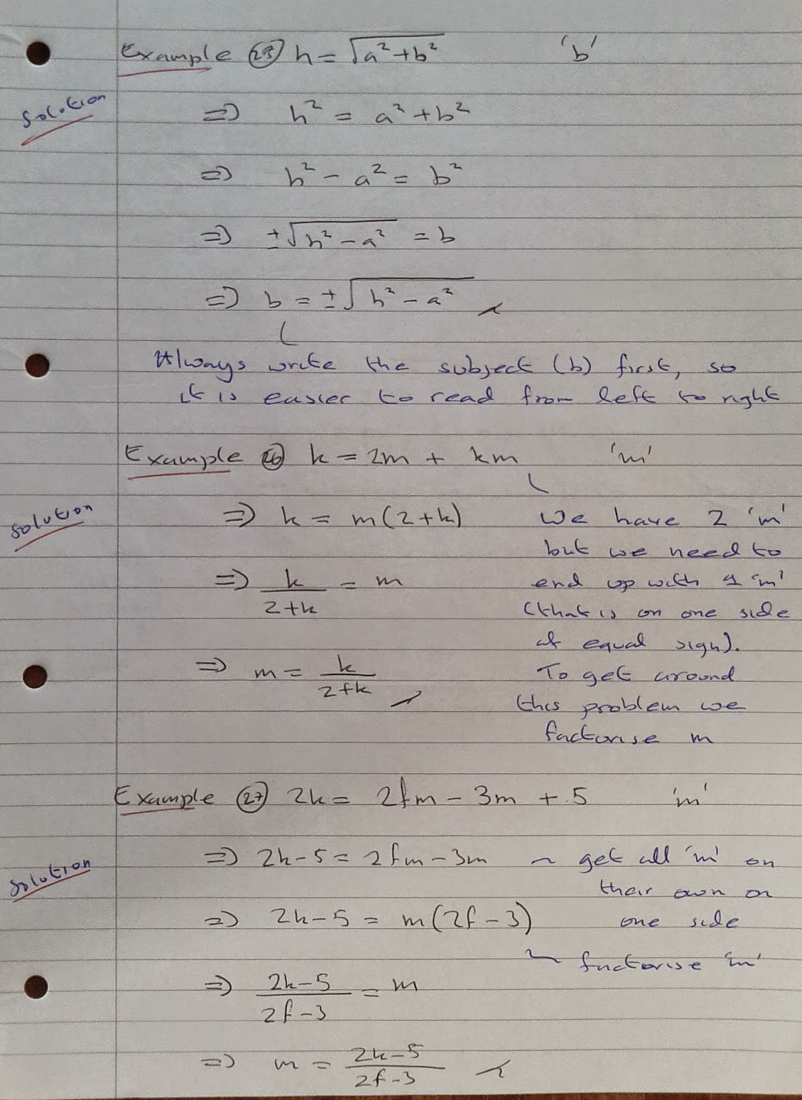 A Level Maths Notes As Algebra Rearranging Formula Part 3
