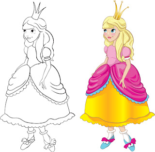 Clipart Image of a Full Colour and a Black and White Princess