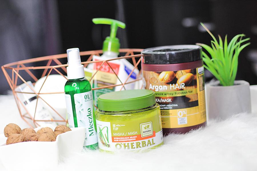 Pielęgnacja włosów z Elfa Pharm | Mleczko wzmacniające Basil Element , Maska wzmacniająca O'Herbal & Regenerująca maska Dr. Santé