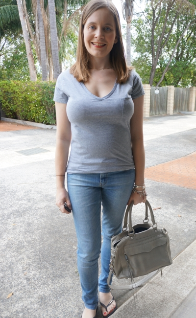 spring outfit grey tee and skinny jeans Rebecca Minkoff MAM Bag | Away From Blue