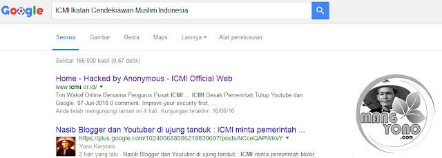 """ Home - Hacked by Anonymous - ICMI Official Web"". ICMI bantah situs miliknya diretas hacker."