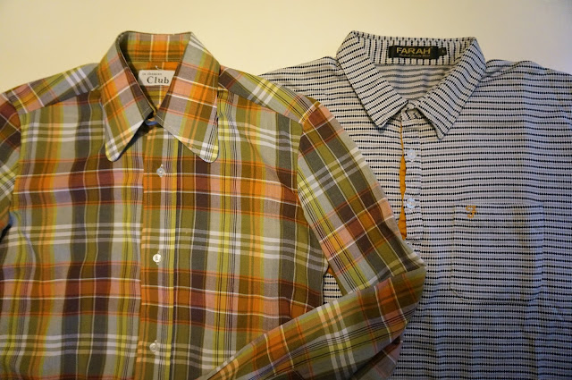 1970s plaid shirt , striped polo Farah mod skinhead