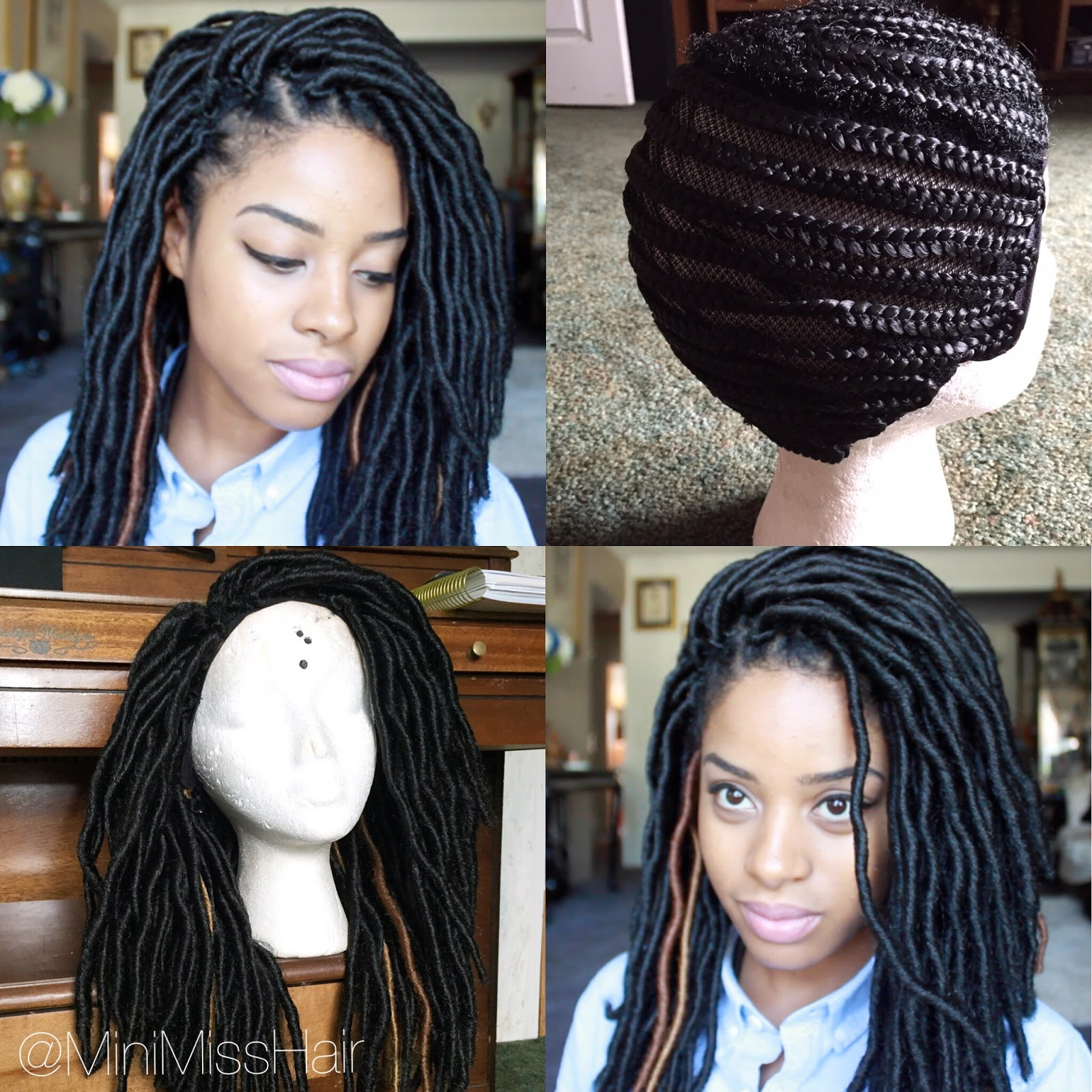 Installing Natural Looking Crochet Faux Locs On Braided Cap