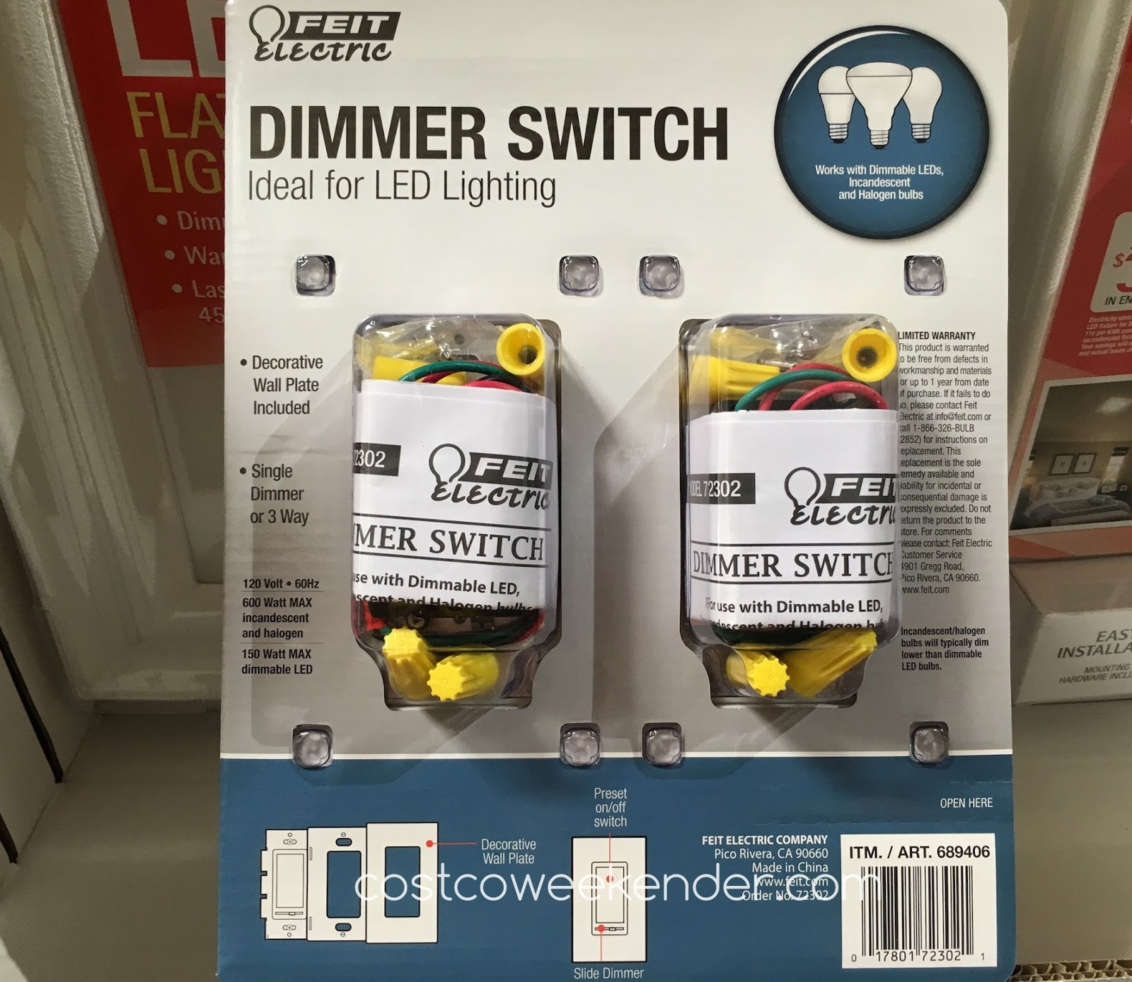 Feit Electric LED Dimmer Switch (2 pack) | Costco Weekender