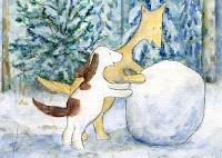 Postcard illustration of Hulmu Hukka and Haukku Spaniel making a very big snow ball in a winter day