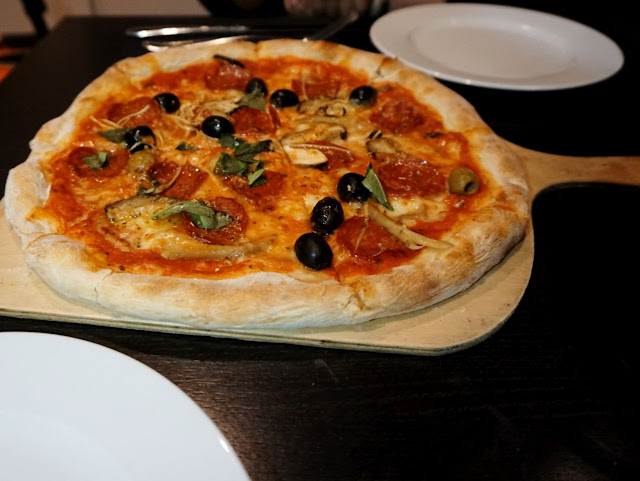Diavola pizza at OBIA restaurant in Purley