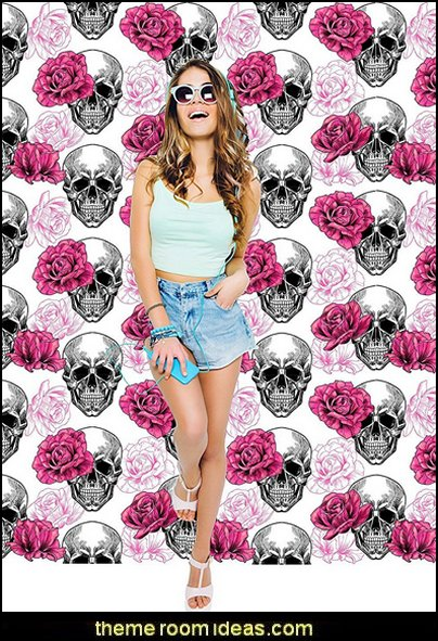 Skull and Roses wallpaper mural