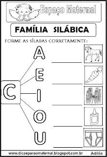 Família silábica alfabetização letra C