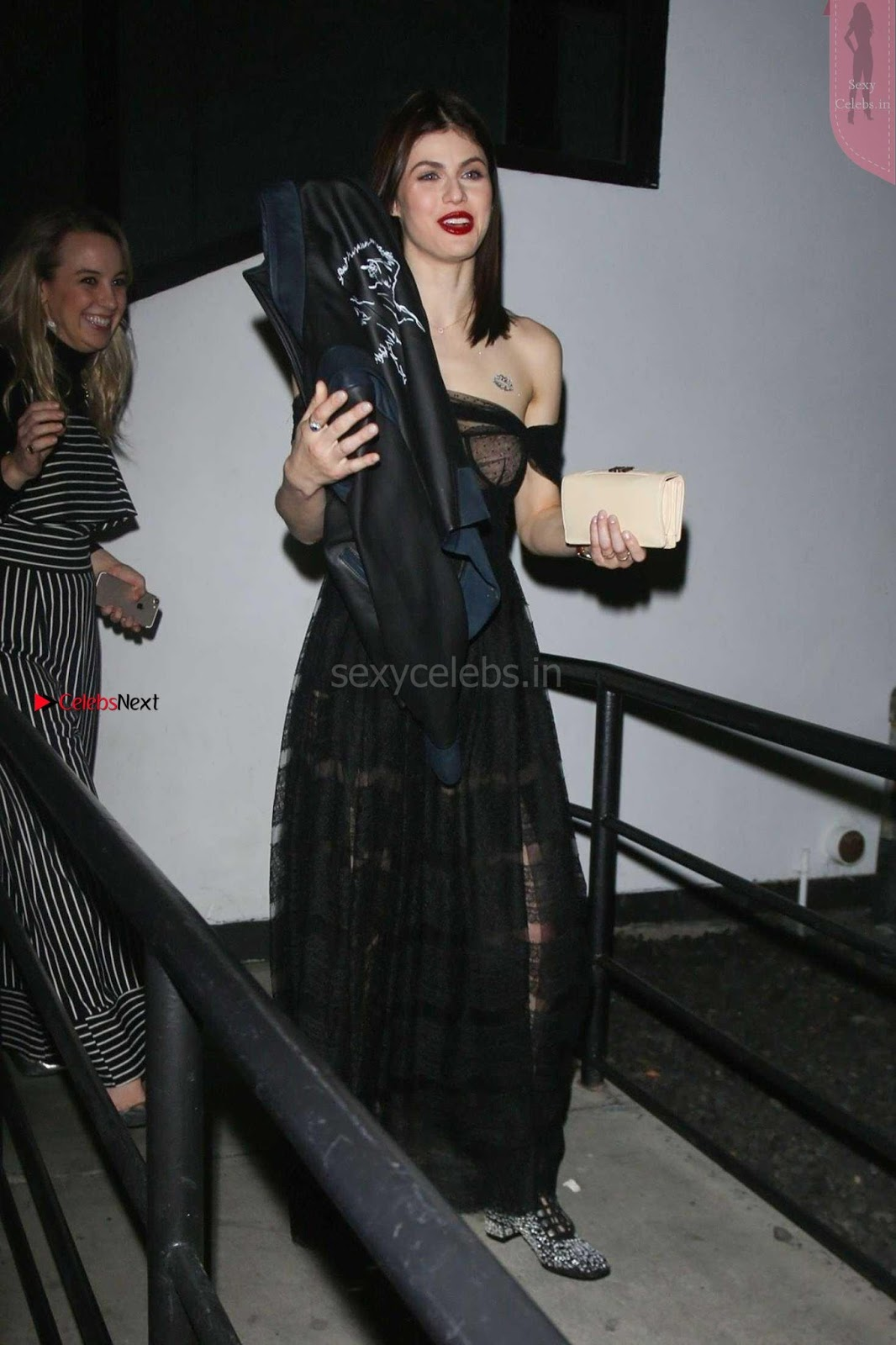 Alexandra Daddario Showing off her tits in transparent top at Dior Addict Lacquer Pump Launch ~ SexyCelebs.in Exclusive