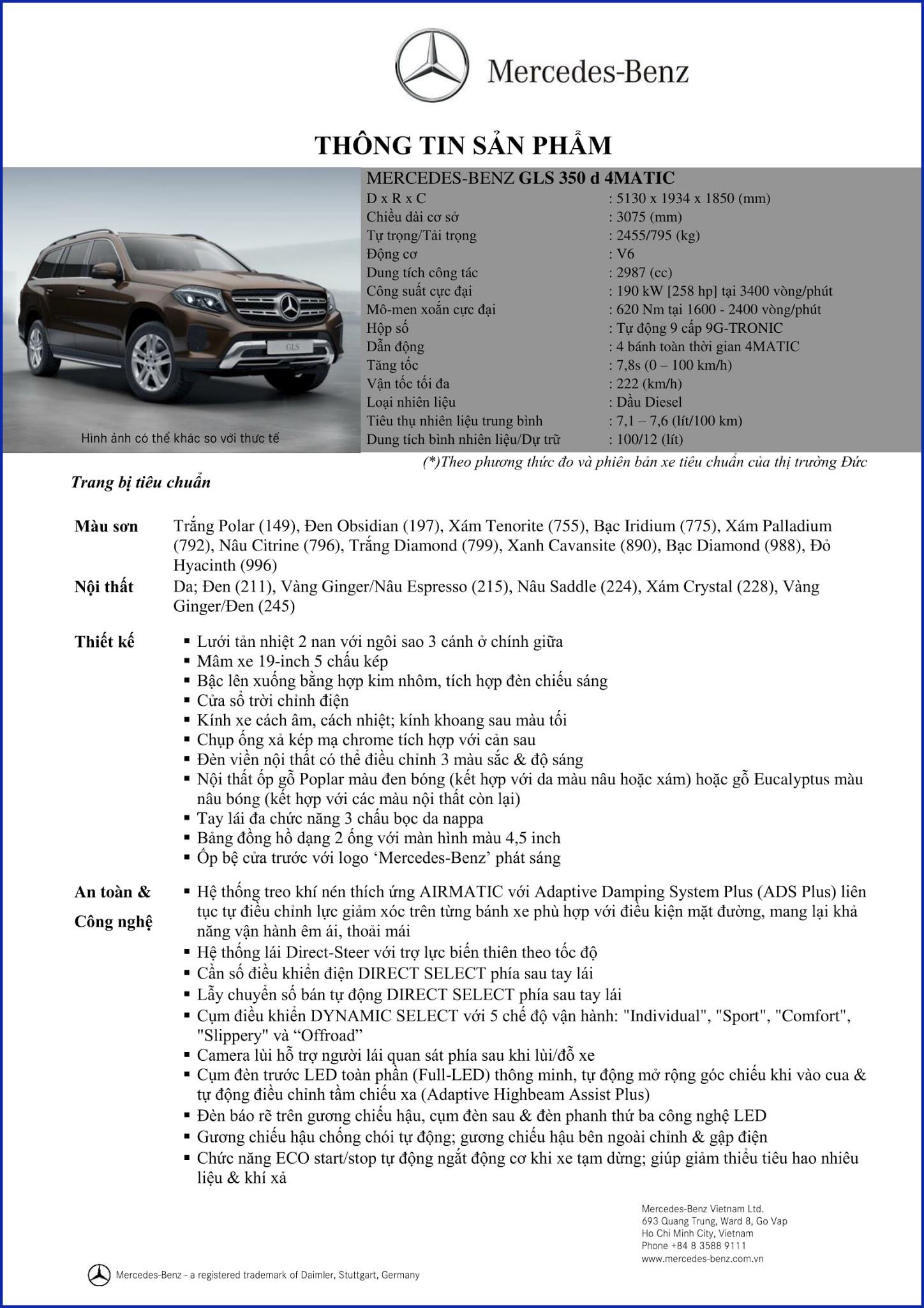 Bảng thông số kỹ thuật Mercedes GLS 350d 4MATIC 2017 tại Mercedes Trường Chinh