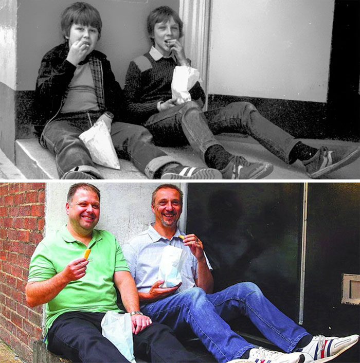 Photographer Recaptures Old Pictures Creating A Beautiful Reunion Of People He Photographed Decades Ago - Eating Chips (1983 And 2016)