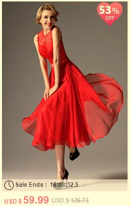 Red High Collar Overlace Mid-calf Cocktail Dress