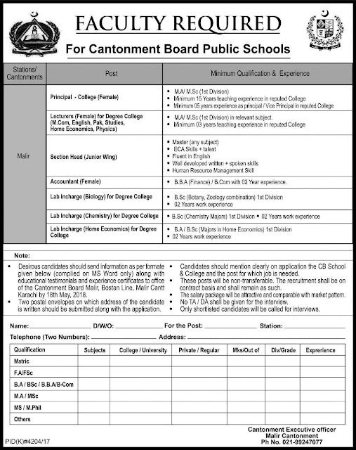 Lecturers Jobs in Cantonment Board Public Schools