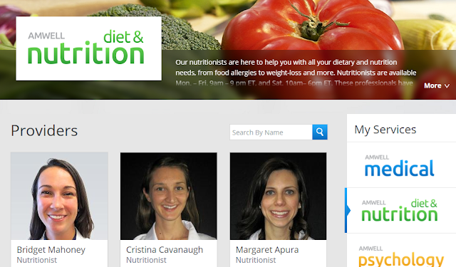 Amwell diet and nutrition doctors