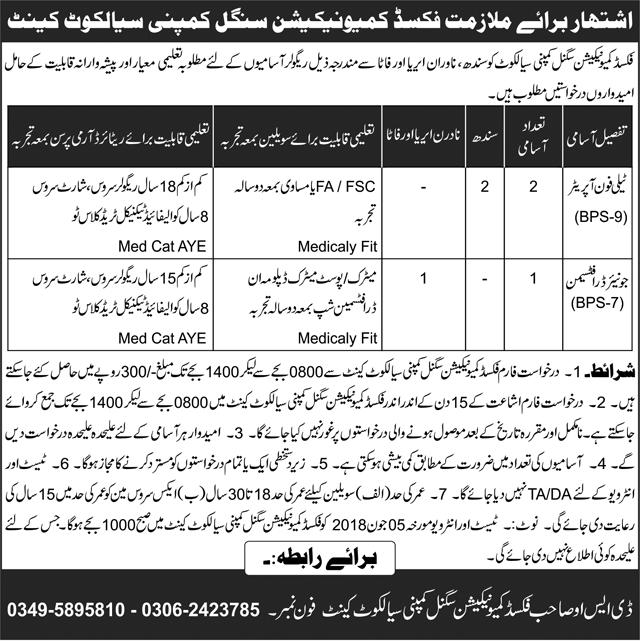 Jobs in Sialkot Cantt for Phone Operator, Drafts Man, Vacancies for F.A, Matric