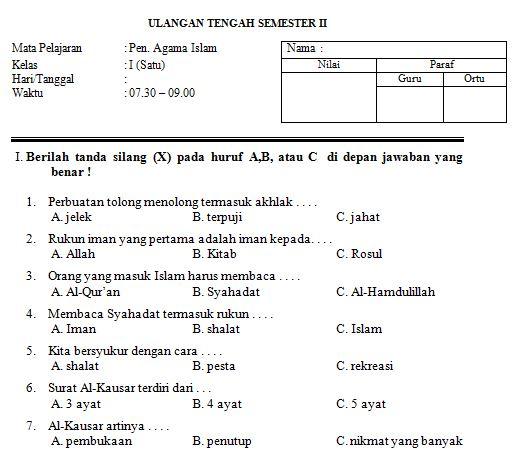 Download Contoh Soal SD/MI Kelas I Mata Pelajaran Agama Semester 2 Format Microsoft Word