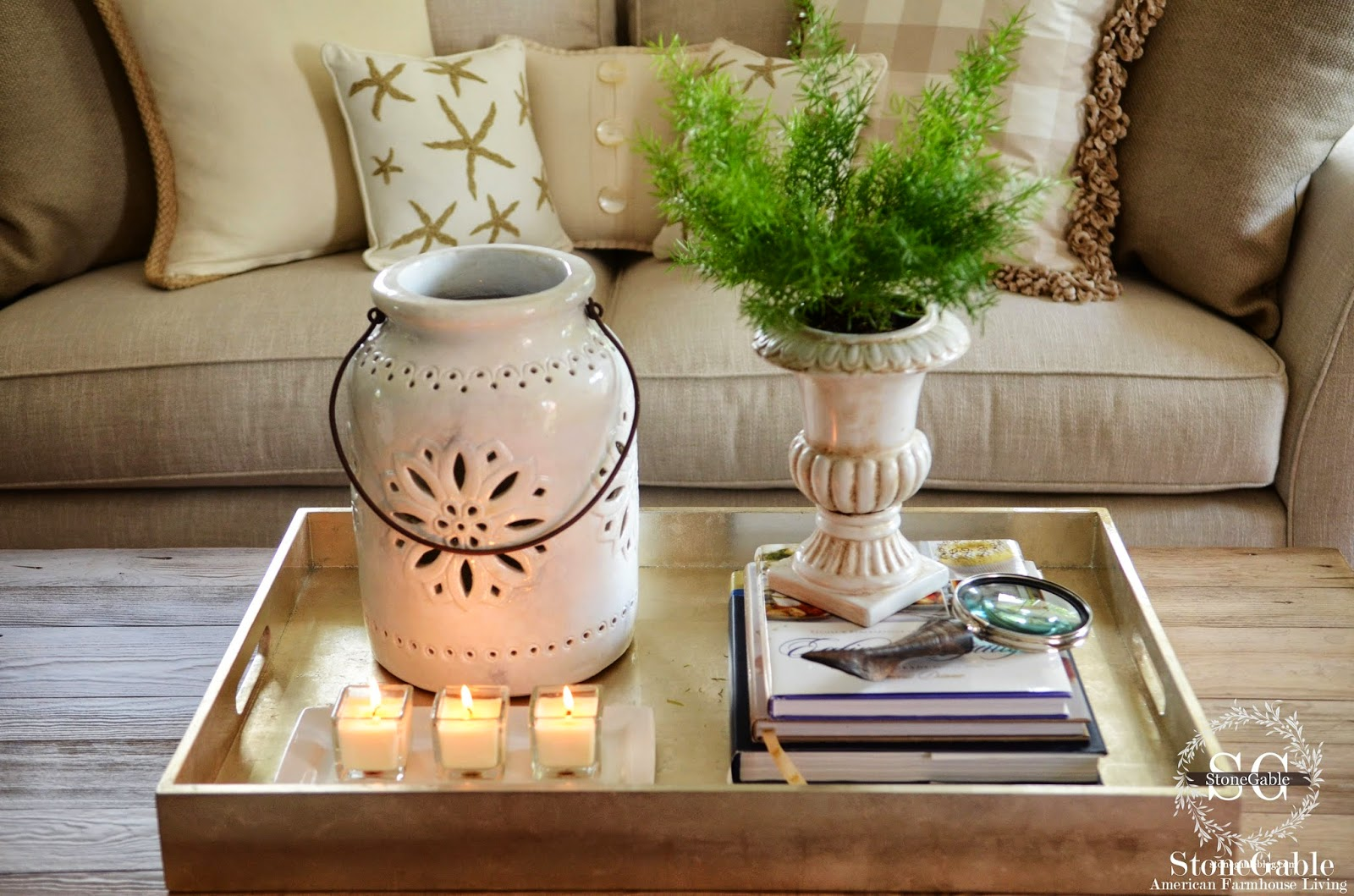 the candles fill up the tray without it looking crowded - Coffee Table Decor