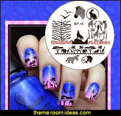 Animal Theme Wolf Elephant Nail Art Image Stamping Template