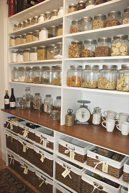 Pantry with great countertops and jars for storage