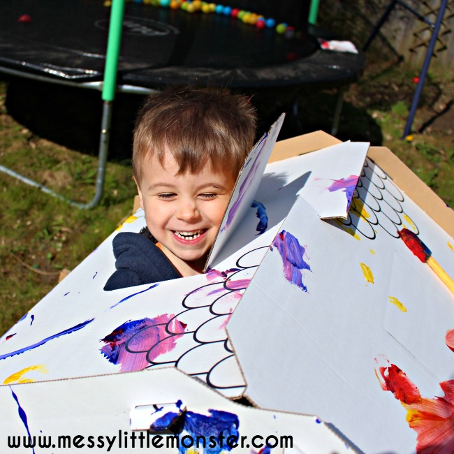 Imaginative outdoor play for kids.  Colour or paint your own cardboard playhouse