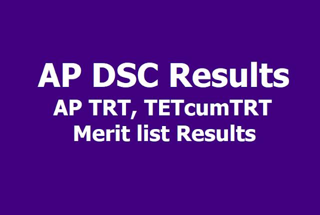 AP DSC Results, AP TRT, TETcumTRT Merit list Results