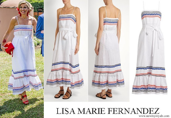Queen Maxima wore LISA MARIE FERNANDEZ Rickrack Trimmed Linen Maxi Dress