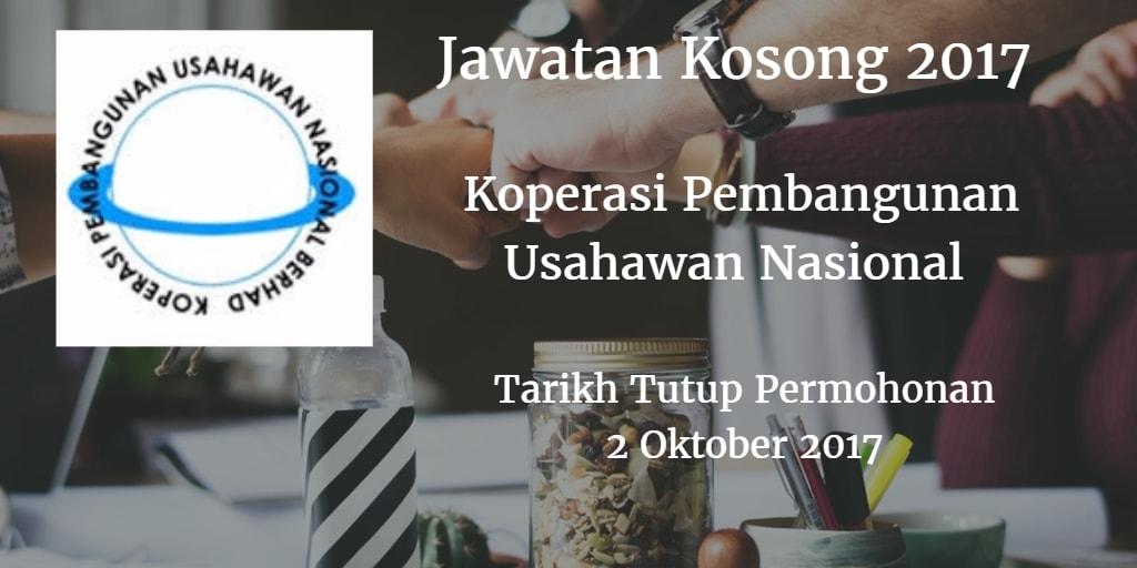 Jawatan Kosong Koperasi Pembangunan Usahawan Nasional 02 Oktober 2017