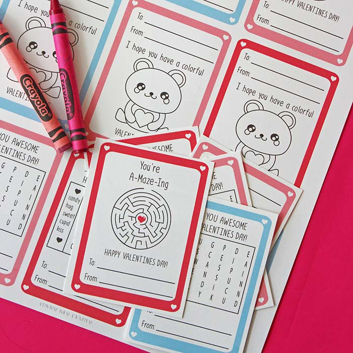 Free Printable Valentine Actviity Cards for Kids from Sunny Day Family