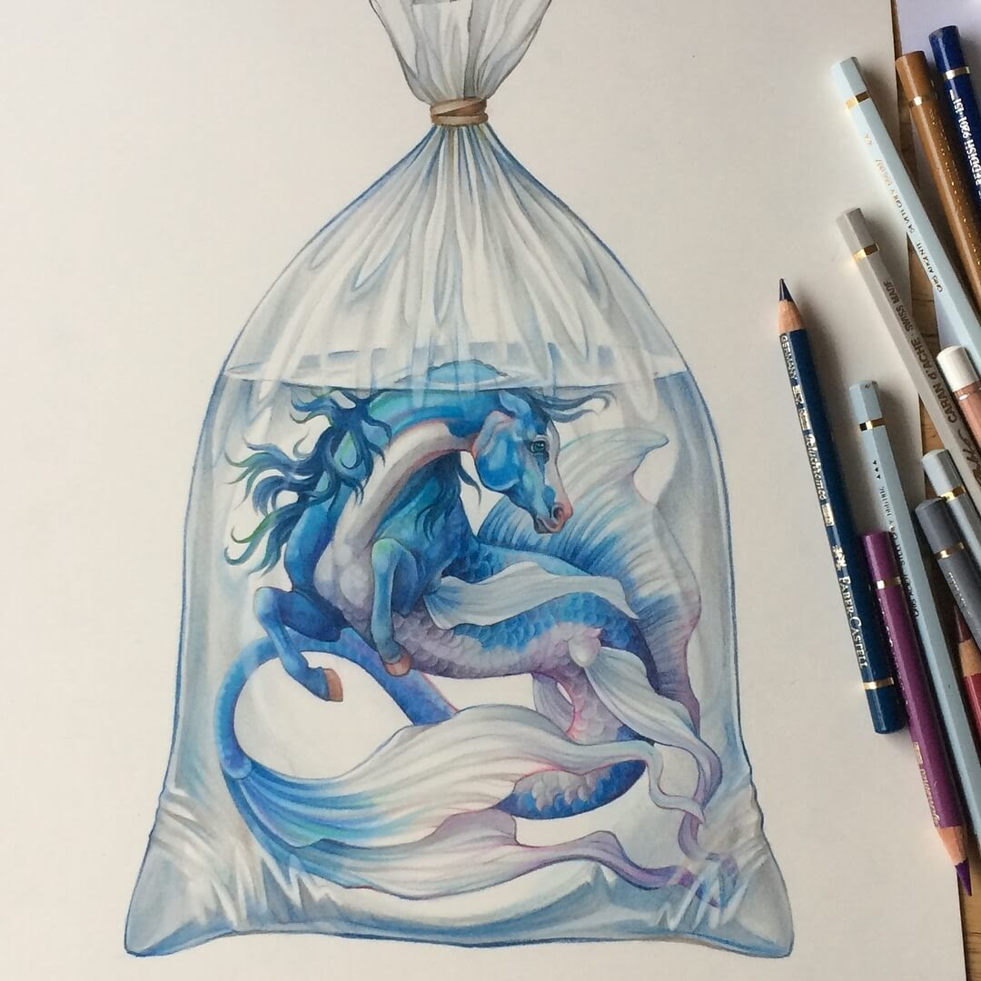 01-Fish-in-a-bag-Grace-Fantasy-Animals-Colored-Pencils-Drawings-www-designstack-co