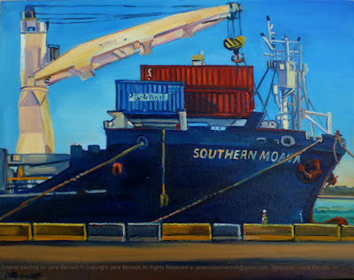plein air poil painting of the last ship 'Southern Moana' on the East Darling Harbour Wharves (Hungry Mile) now Barangaroo painted by industrial heritage artist Jane Bennett