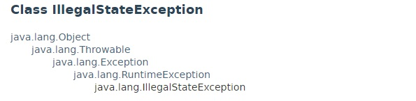 Class hierarchy of IllegalStateException present in java.lang package.