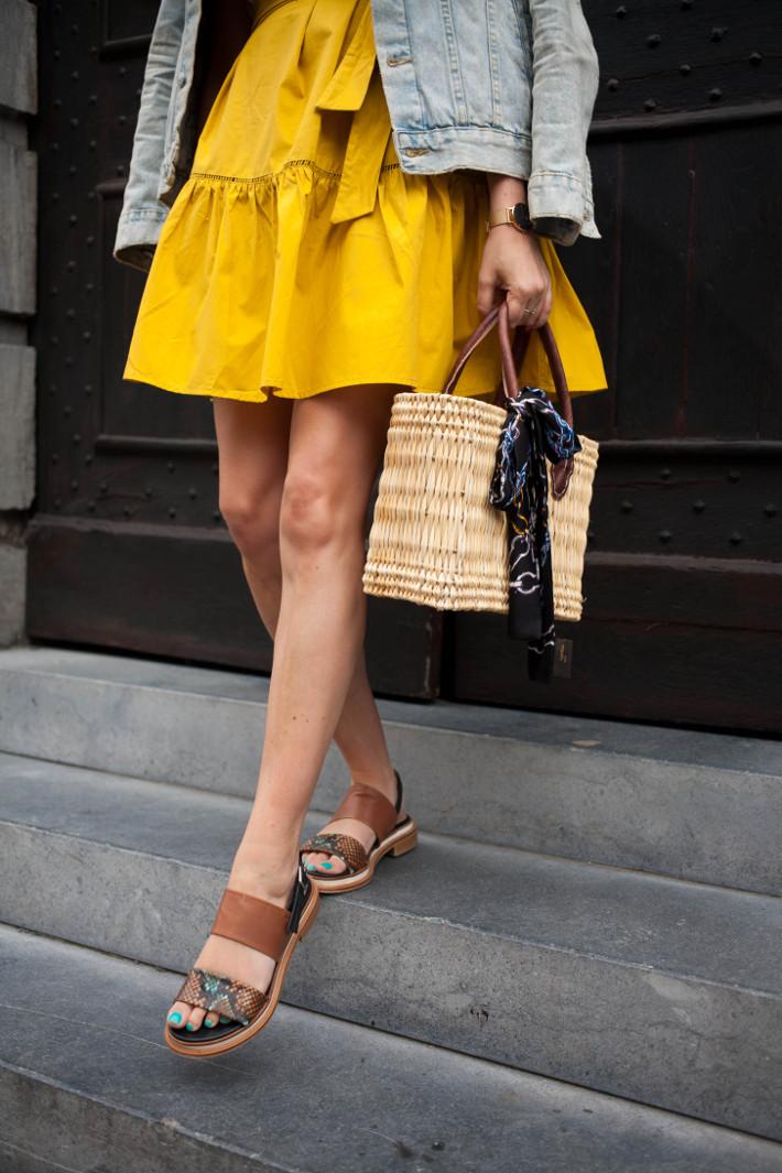 Outfit: goldenrod off-shoulder dress