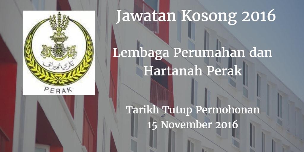 Jawatan Kosong Lembaga Perumahan dan Hartanah Perak 15 November 2016