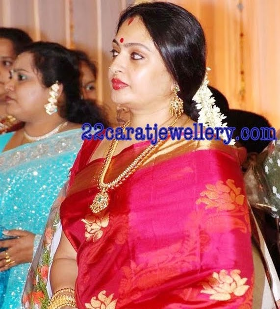 Actress Seeta In Traditional Long Chain And Bangles