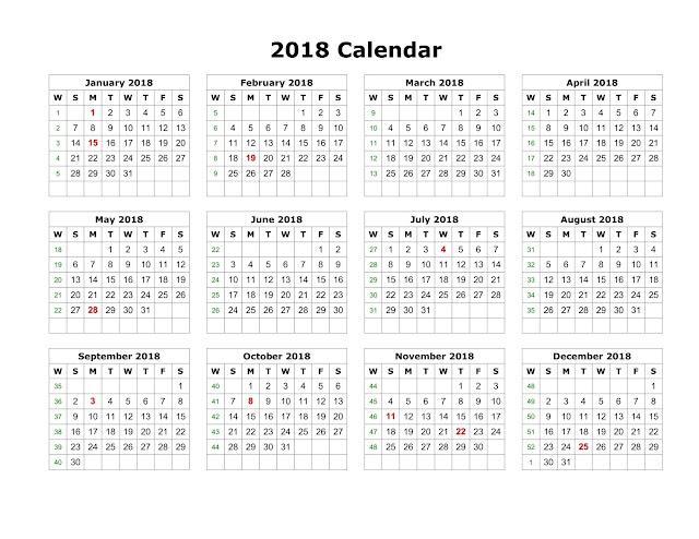 New year Calendar 2018, calendar 2018 Printable