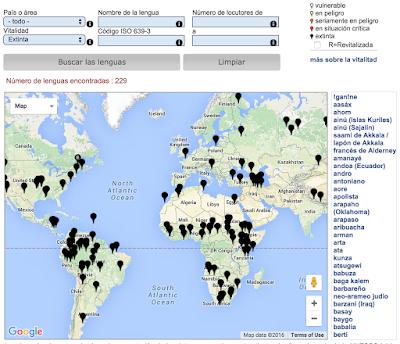 Grammazzle UNESCO Idiomas mueren Extintos languages Mapa Tierra